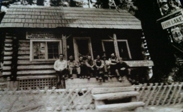 The Fish Lake Dispatcher's Cabin and personnel in 1924.