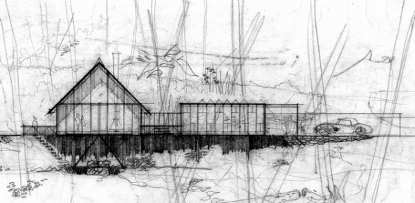 A sketch of a home designed by architect Saul Zaik