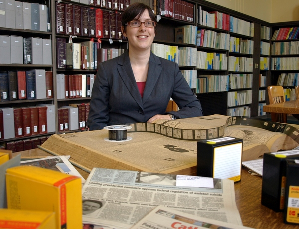 Karen Estlund, director of the Oregon Digital Newspaper Program at the University of Oregon Libraries