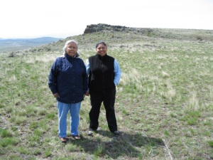 Myrna Tovey (left) and Dara Williams-Worden (right) on the site of a proposed wind farm project in ceded lands of the Confederated Tribes of the Umatilla Indian Reservation.