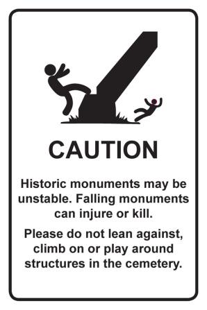 Cemetery Caution Sign