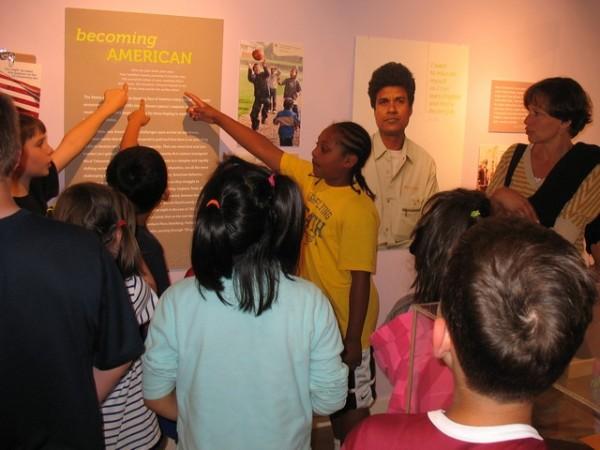 Children at the Settling In exhibit