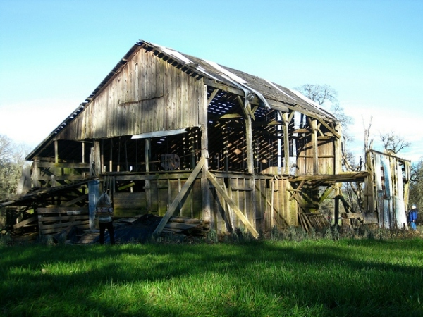 The hand-hewn Knotts-Owens Barn near Corvallis was built in 1870.