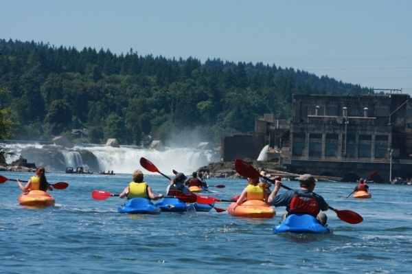 """Kayakers converging on historic Willamette Falls, the """"Niagara Falls of the West."""" Photo credit: www.MtHoodTerritory.com"""