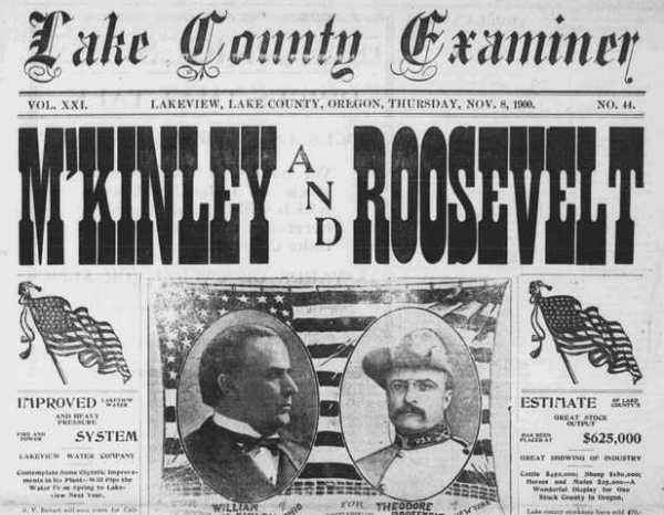 Front page of the Nov. 8, 1900 Lake County Examiner from the Oregon Digital Newspaper Program.