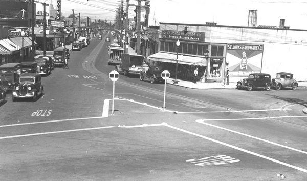 Intersection of N. Several URM buildings can be seen in this photo of Philadelphia Ave [Lombard] and Jersey St. in 1938.