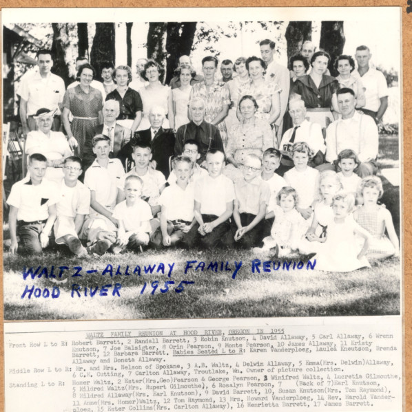 Photo of the Walfz-Allaway family reunion taken in Hood River in 1955. Images like this are available from the OSU Digital Collections.